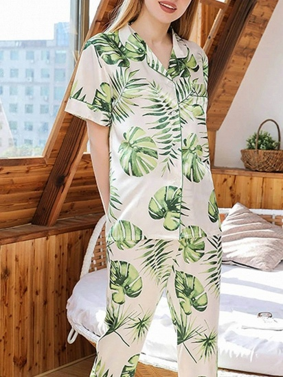 BMbridal Chic Two-pieces Imitation Silk Printed Pajamas Sets On Sale_5