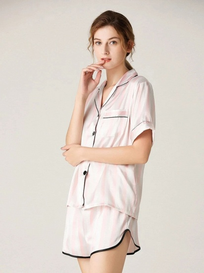 Fashion Sexy Women Summer Lapel Silk Home Pajamas with Short Sleeves_2