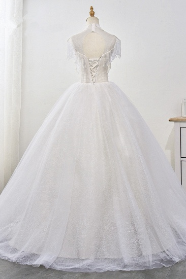 BMbridal Luxury Ball Gown High-Neck Tulle Wedding Dress Sparkly Sequins Sleeveless Appliques Bridal Gowns with Tassels_3