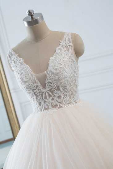Simple V-Neck White Tulle Wedding Dress Sleeveless Lace Top Bridal Gowns with Beadings On Sale_5