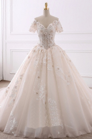 Ball Gown V-Neck Tulle Beadings Wedding Dress Lace Appliques Short Sleeves Bridal Gowns with Flowers On Sale_1
