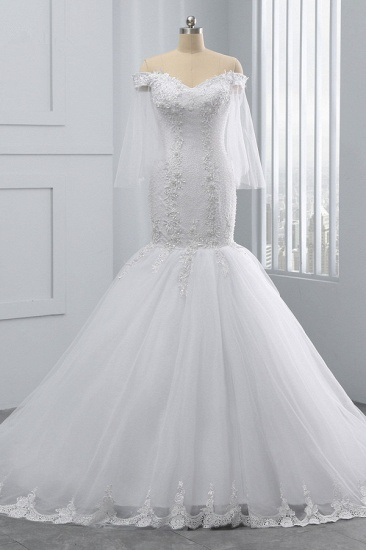 BMbridal Gorgeous Off-the-Shoulder Sweetheart Tulle Wedding Dress White Mermaid Lace Appliques Bridal Gowns Online_2