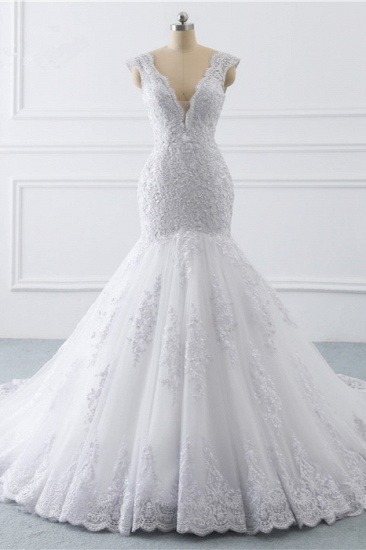 BMbridal Gorgeous V-Neck Tulle Lace Wedding Dress Sleeveless Mermaid Appliques Bridal Gowns On Sale_1