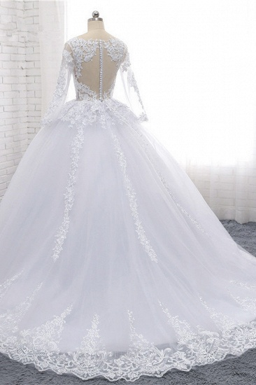 Stylish Long Sleeves Tulle Lace Wedding Dress Ball Gown V-Neck Sequins Appliques Bridal Gowns On Sale_5