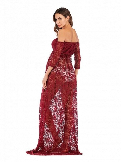 Burgundy See-through Lace Strapless Maternity Dress with Half-sleeves_2