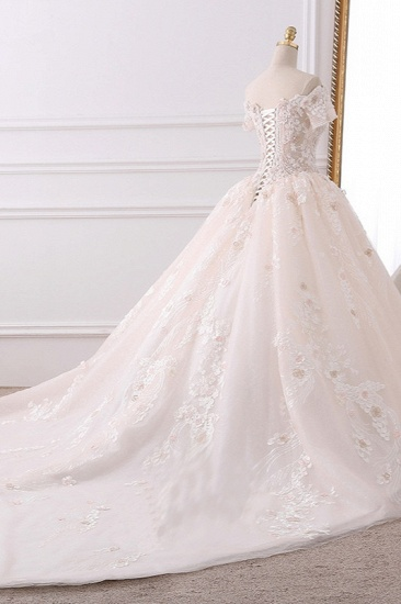 Ball Gown V-Neck Tulle Beadings Wedding Dress Lace Appliques Short Sleeves Bridal Gowns with Flowers On Sale_5