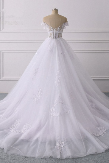 BMbridal Elegant Off-the-Shoulder Tulle Lace Wedding Dress Sweetheart Appliques Beadings Sleeveless Bridal Gowns On Sale_3