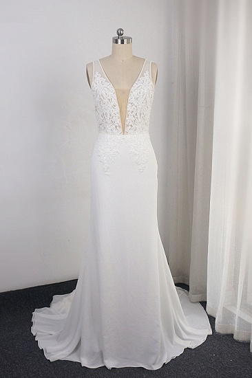 Sexy Deep-V-Neck Chiffon Sheath Wedding Dress Lace Appliques Sleeveless Pearls Bridal Gowns Online