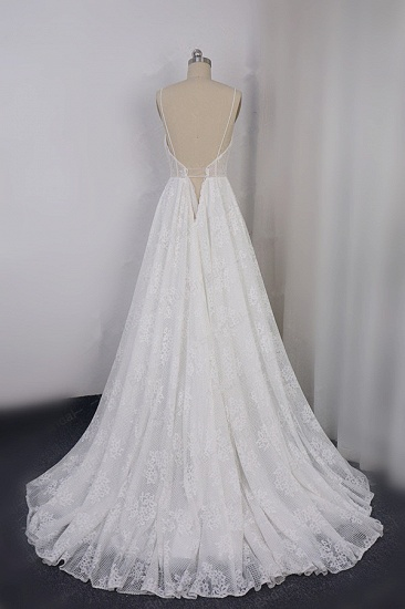 BMbridal Sexy Spaghetti Straps V-neck Lace Tulle Wedding Dress Sleeveless Appliques Backless Bridal Gowns Online_3