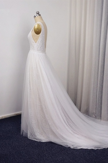 BMbridal Chic Straps V-Neck White Tulle Lace Wedding Dress Sleeveless Ruffles Bridal Gowns On Sale_5