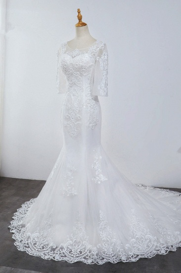 BMbridal Elegant Jewel 3/4 Sleeves Mermaid White Wedding Dress Tulle Lace Appliques Beadings Bridal Gowns On Sale_4