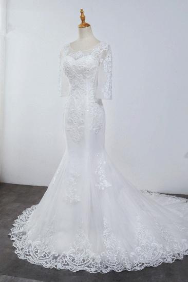 Elegant Jewel 3/4 Sleeves Mermaid White Wedding Dress Tulle Lace Appliques Beadings Bridal Gowns On Sale_4