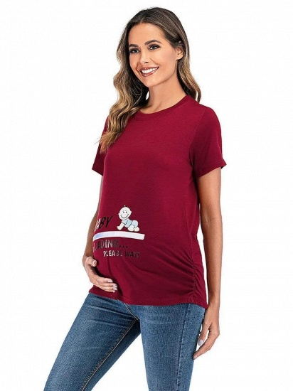 BMbridal Comfortable Printed T-shirt Maternity Clothes with Short Sleeves On Sale_3