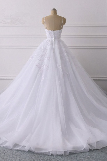 BMbridal Glamorous Spaghetti Straps V-Neck Tulle Wedding Dress Ball Gown Ruffles Appliques Bridal Gowns Online_3