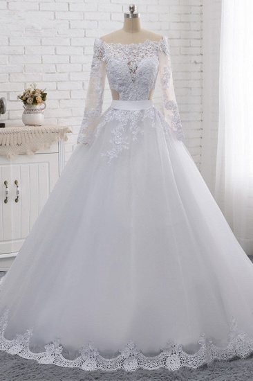 Stylish Off-the-Shoulder Long Sleeves Wedding Dress Tulle Lace Appliques Bridal Gowns with Beadings On Sale_1