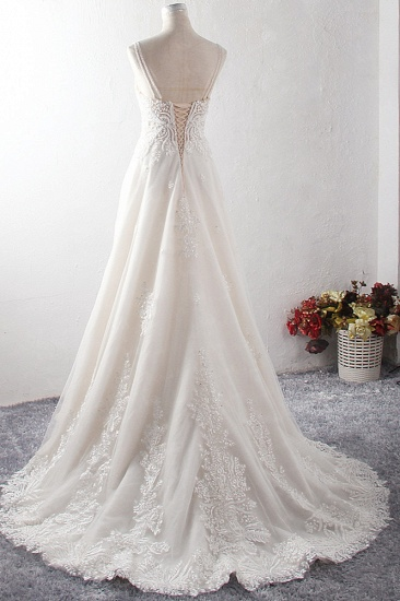 BMbridal Gorgeous Straps Sweetheart Tulle Wedding Dress Sleeveless Sweetheart Appliques Bridal Gowns with Pearls Online_3