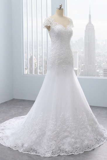 Chic Jewel Mermaid Tulle Lace Wedding Dress Short-Sleeves Beadings Appliques Bridal Gowns On Sale_4