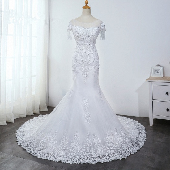 BMbridal Affordable Jewel Mermaid Tulle Lace Wedding Dress Sleeveless Appliques Beading Bridal Gowns with Tassels Online_8