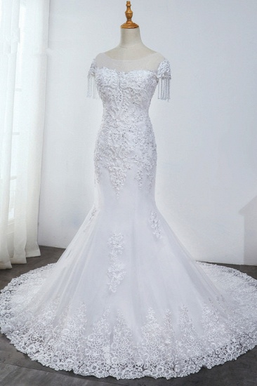 BMbridal Affordable Jewel Mermaid Tulle Lace Wedding Dress Sleeveless Appliques Beading Bridal Gowns with Tassels Online_7