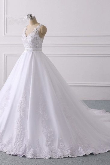 Gorgeous V-Neck Satin Tulle Lace Wedding Dress White Appliques Sleeveless Bridal Gowns On Sale_4