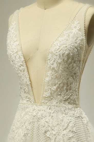 BMbridal Sexy Tulle Deep-V-Neck Lace Wedding Dress Sleeveless Appliques Pearls Bridal Gowns On Sale_5