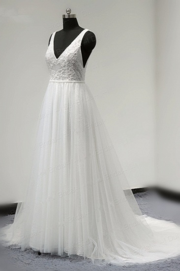 BMbridal Chic Straps V-Neck White Tulle Lace Wedding Dress Sleeveless Ruffles Bridal Gowns On Sale_4