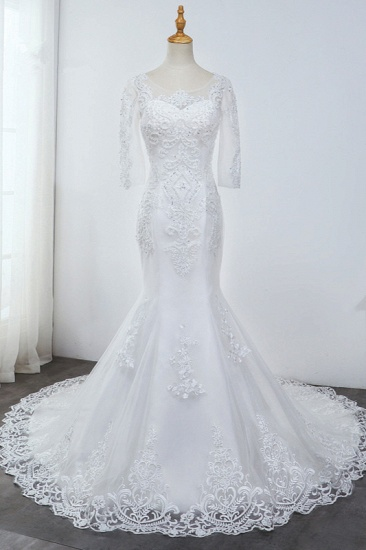 BMbridal Elegant Jewel 3/4 Sleeves Mermaid White Wedding Dress Tulle Lace Appliques Beadings Bridal Gowns On Sale_1