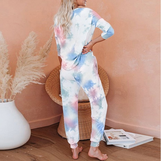 BMbridal Fashion Long Sleeve Homewear Two Pieces Tie-dye Round Neck Pajamas_2
