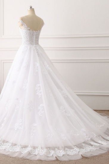 BMbridal Affordable Jewel Tulle Lace White Wedding Dress Sleeveless Appliques Bridal Gowns Online_5