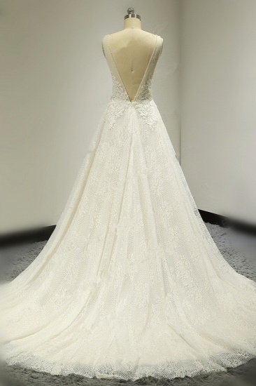 BMbridal Sexy Tulle Deep-V-Neck Lace Wedding Dress Sleeveless Appliques Pearls Bridal Gowns On Sale_3