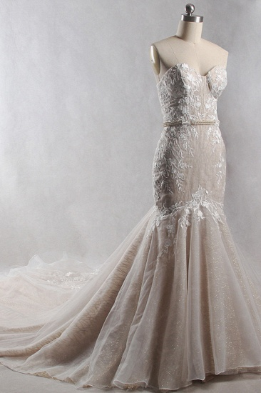 Chic Strapless Tulle Sequins Mermaid Wedding Dress Sleeveless Appliques Beadings Bridal Gowns On Sale_5
