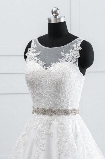 BMbridal Simple Jewel Tulle Lace Wedding Dress A-Line Appliques Beadings Bridal Gowns with Sash Online_6