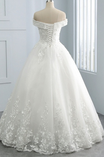 Gorgeous Off-the-Shoulder Tulle Appliques Wedding Dress Sweetheart Sleeveless Lace Bridal Gowns On Sale_3