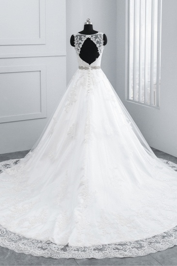 BMbridal Simple Jewel Tulle Lace Wedding Dress A-Line Appliques Beadings Bridal Gowns with Sash Online_3