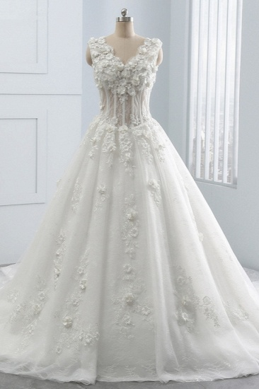 BMbridal Glamorous V-Neck Tulle Wedding Dress with Flowers Appliques Sleeveless Beadings Bridal Gowns Online_1