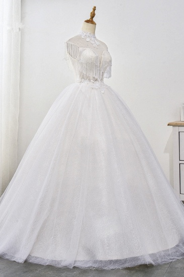 BMbridal Luxury Ball Gown High-Neck Tulle Wedding Dress Sparkly Sequins Sleeveless Appliques Bridal Gowns with Tassels_5