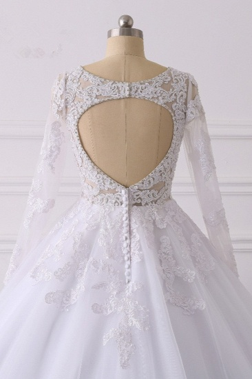 BMbridal Elegant V-Neck Long Sleeves Wedding Dress White Tulle Lace Appliques Bridal Gowns On Sale_7