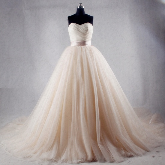 BMbridal Ball Gown Strapless Sweetheart Tulle Wedding Dress Sweetheart Sleeveless Ruffles Bridal Gowns Online_3