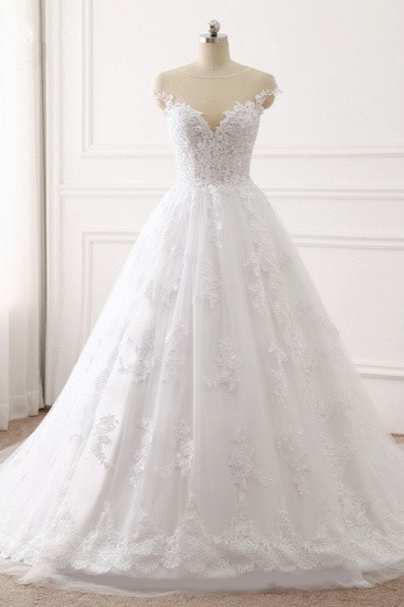 BMbridal Affordable Jewel Tulle Lace White Wedding Dress Sleeveless Appliques Bridal Gowns Online_1