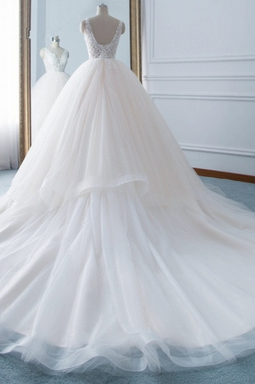 Simple V-Neck White Tulle Wedding Dress Sleeveless Lace Top Bridal Gowns with Beadings On Sale_3