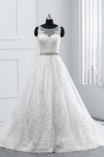 Simple Jewel Tulle Lace Wedding Dress A-Line Appliques Beadings Bridal Gowns with Sash Online