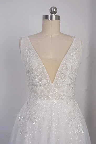 Sparkly Sequined V-Neck Wedding Dress Tulle Sleeveless Beadings Bridal Gowns On Sale_6