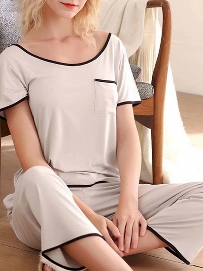 BMbridal Casual Two-piece Modal Pajamas Set with Short-Sleeves_4