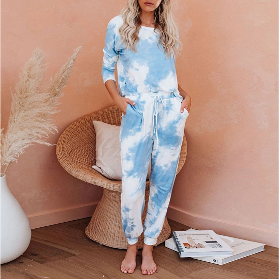 Fashion Long Sleeve Homewear Two Pieces Tie-dye Round Neck Pajamas_4