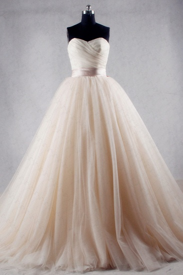 Ball Gown Strapless Sweetheart Tulle Wedding Dress Sweetheart Sleeveless Ruffles Bridal Gowns Online