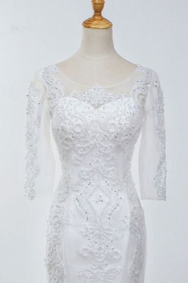 BMbridal Elegant Jewel 3/4 Sleeves Mermaid White Wedding Dress Tulle Lace Appliques Beadings Bridal Gowns On Sale_6