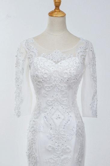 Elegant Jewel 3/4 Sleeves Mermaid White Wedding Dress Tulle Lace Appliques Beadings Bridal Gowns On Sale_6