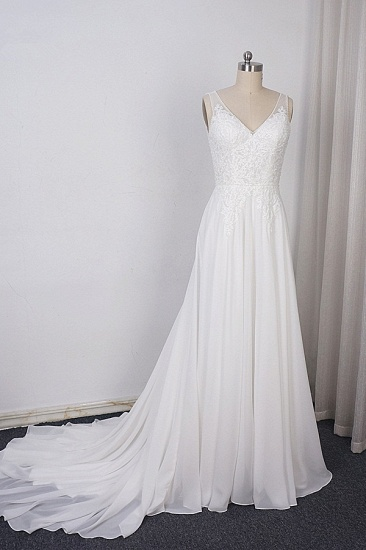 Elegant Straps V-neck Chiffon White Wedding Dress Sleeveless Lace Appliques Ruffle Bridal Gowns On Sale