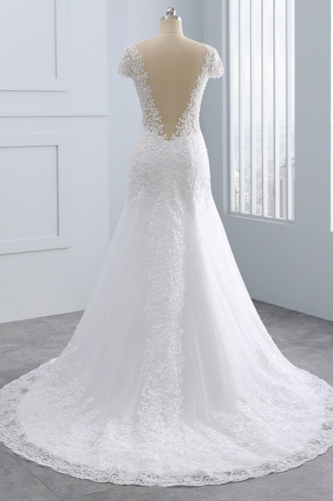 BMbridal Chic Jewel Mermaid Tulle Lace Wedding Dress Short-Sleeves Beadings Appliques Bridal Gowns On Sale_3