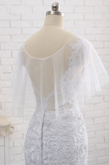 Elegant Jewel Sleeveless White Tulle Wedding Dress Mermaid Lace Beading Bridal Gowns On Sale_9